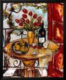 Still Life Wtih Blooming Red Tulips Pre-made-framed Framed Art Print