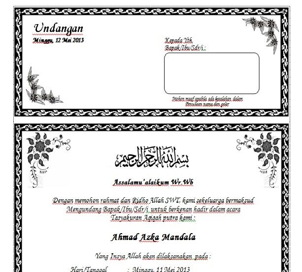 Ide 34+ Download Undangan Aqiqah Word Edit