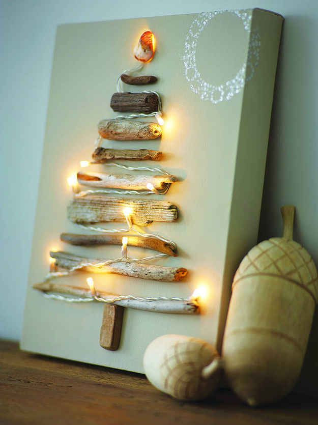 Driftwood Canvas Christmas Tree | 20 Alternative Christmas Tree Ideas
