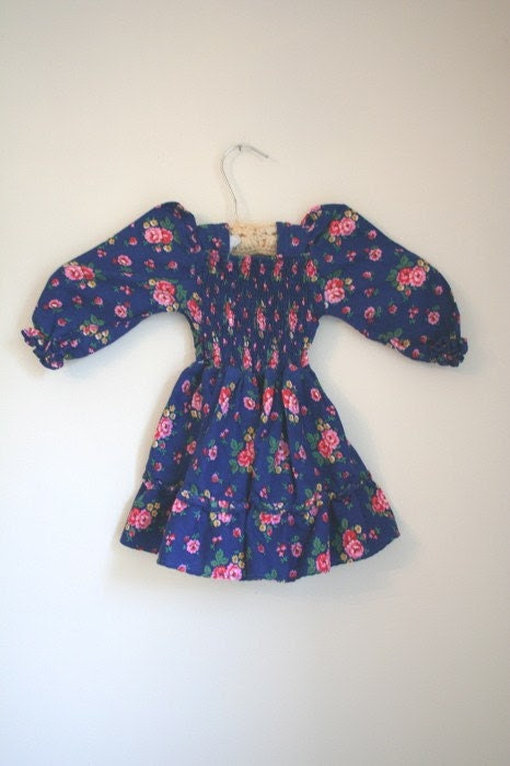 Vintage Little Girl's Blue Floral Smock Dress sz 12M