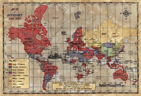 Mapa mostra qual o site mais acessado em cada país