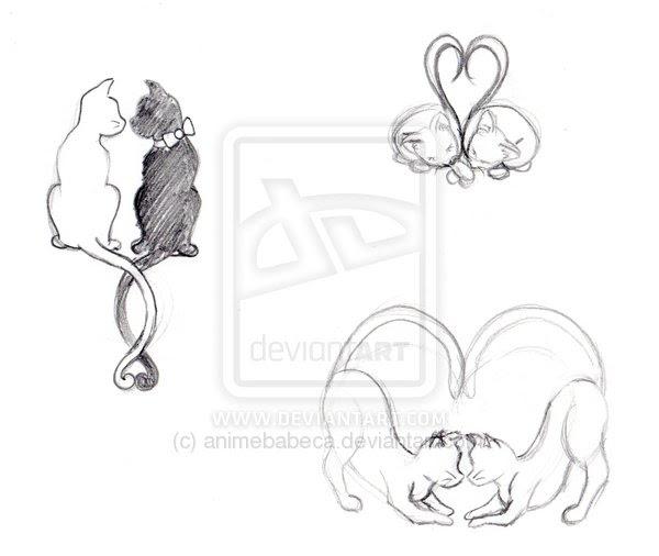 Line Art Cat Tattoo Designs