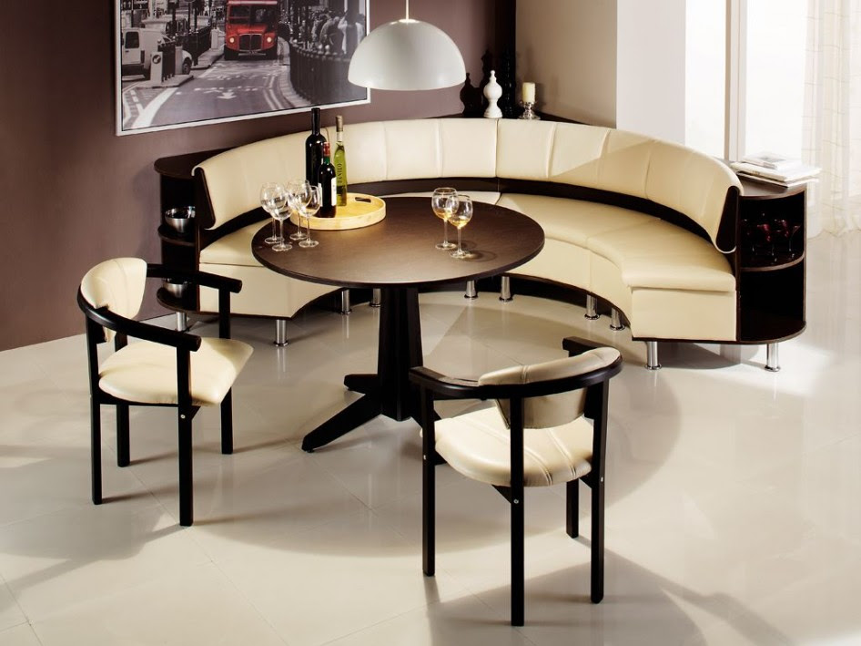 luxurious cream corner breakfast nook furniture design with black accent and dining chairs in curve style with brown wall and glass window
