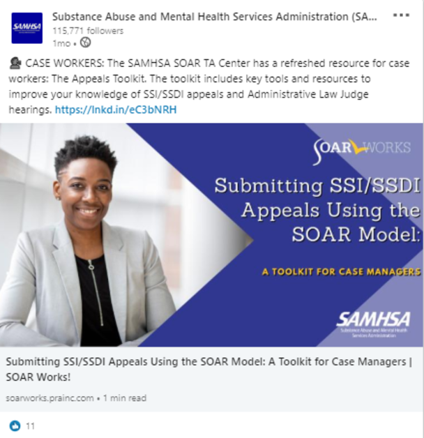 SOAR LinkedIn Post: Submitting SSI/SSDI Appeals Using the SOAR Model