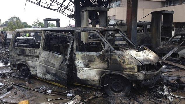 Un incendie dans un stationnement de poids lourds aurait provoqué l'explosion d'une station-service d'Accra, au Ghana.