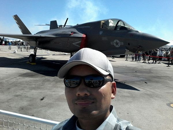 Taking a selfie in front of an F-35B Lightning II at the Miramar Air Show...on September 24, 2016.