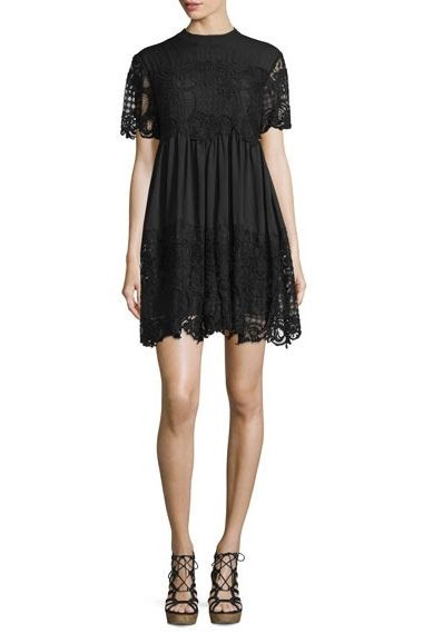 Kendall + Kylie Short Sleeve Lace Babydoll Dress