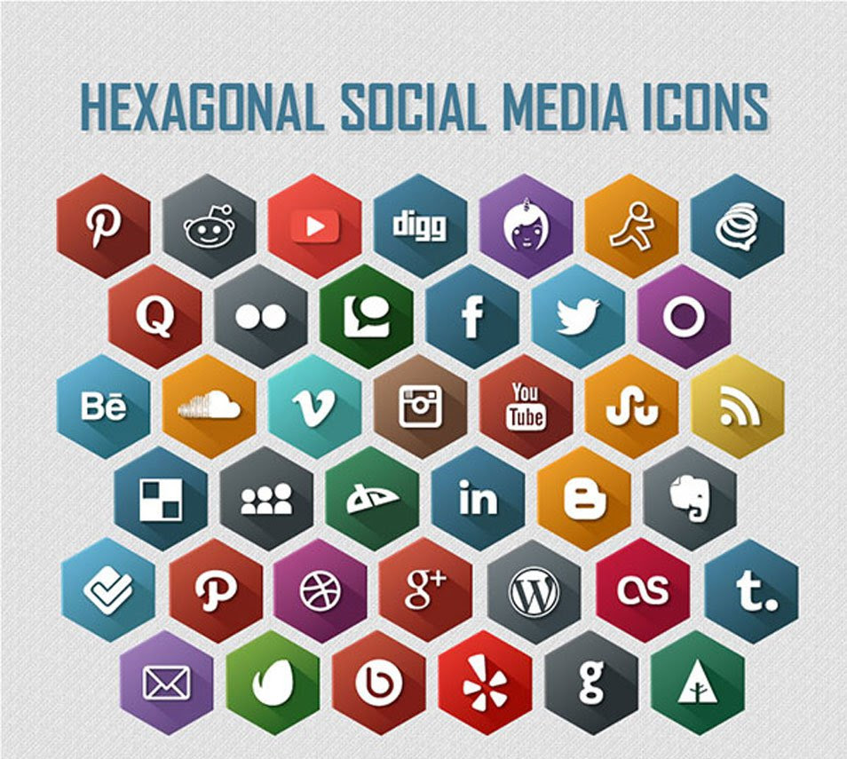 Hexagonal 40 Free Social Media Icons