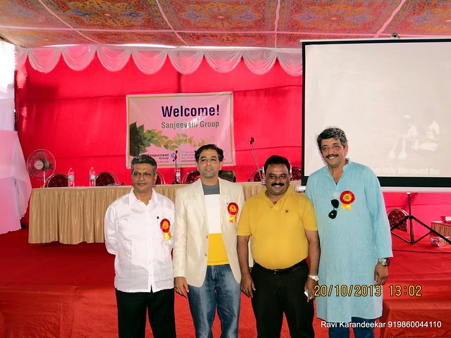 Mr. Sanjay Deshapande with Guest of Honor Mr. A. J. Rodriques, Regional Manager, State Bank of India & Chief Guest Mr. Anirudh Chaoji, Director, Pugmarks Eco Tours - Handing Over Ceremony of Sanjeevani Developers' Sangam at Sus on Sunday 20th October 2013