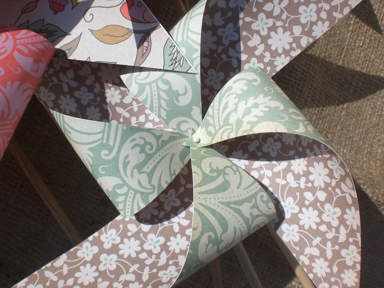 """Pinwheels 8 """"Bohemian"""" Medium Paper Pinwheels"""