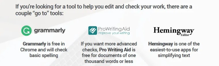 Grammarly Pro Writing Aid and Hemingway App