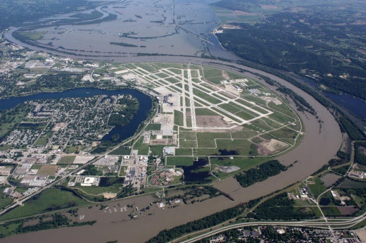 This aerial handout photo provided by the Omaha Airport Authority, taken June 15, 2011, shows flooding around the airport in Omaha, Neb. Extreme weather is a growing threat to the nation's lifelines.