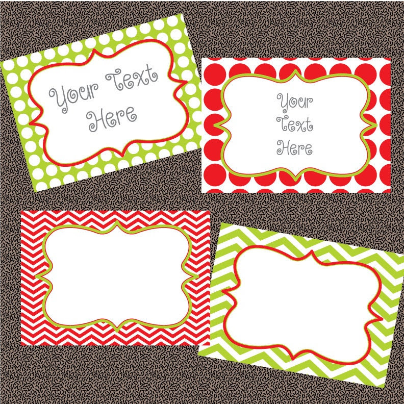 Red and Green Chevron and Polkadot Christmas Labels