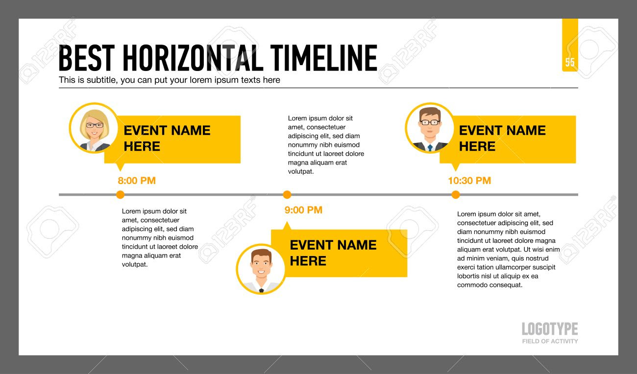 Editable Infographic Template Of Horizontal Timeline With Male ...