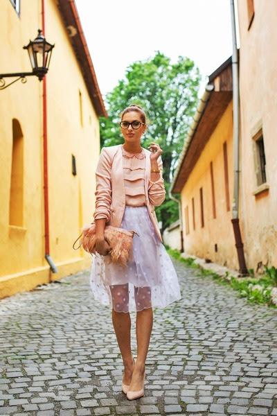 white PERSUNMALL skirt - light pink Primark bag - light pink Kitten heels