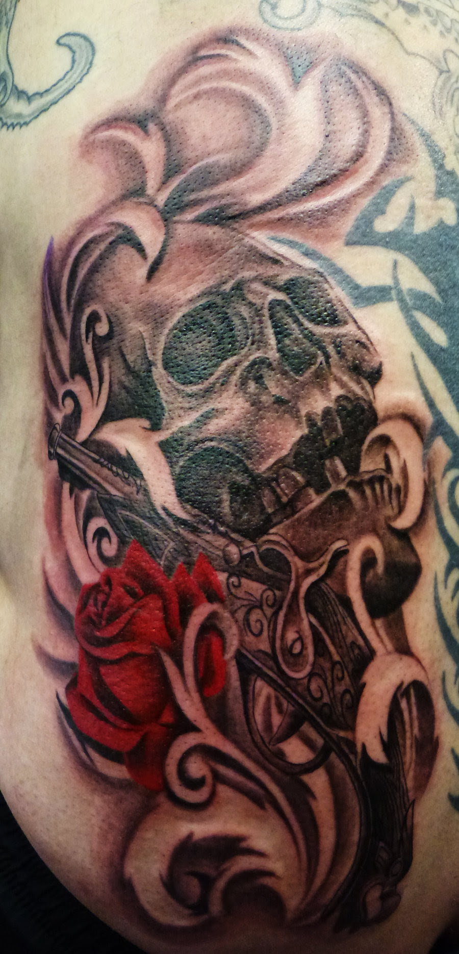 Skull And Red Rose Tattoo