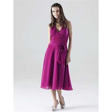 Tea length Chiffon Bridesmaid Dress   Fuchsia Plus Sizes
