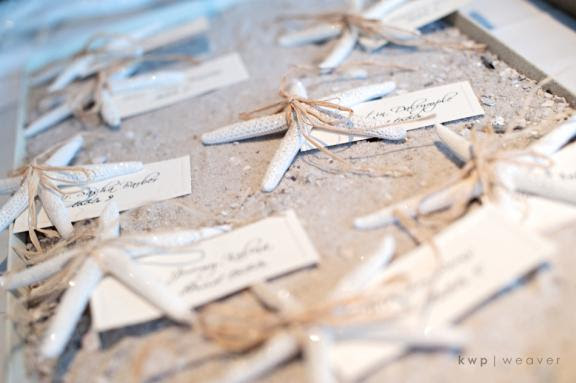 Beach wedding reception escort cards