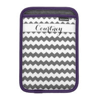 Gray Chevron Personalized Ipad Mini iPad Mini Sleeve