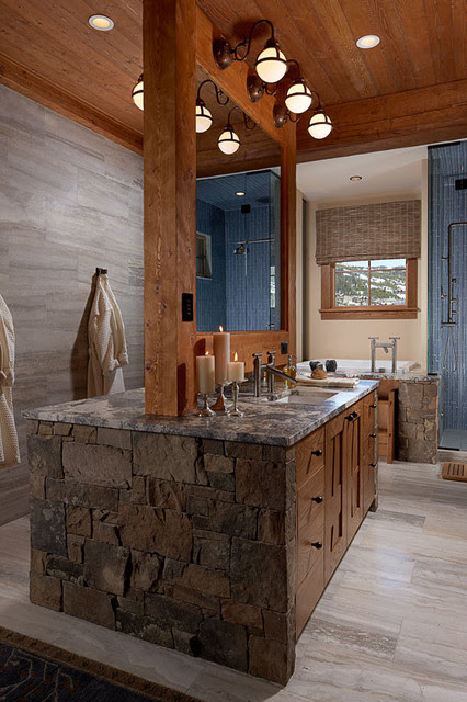 Modern Rustic Bathroom - bathroom lighting and vanity lighting