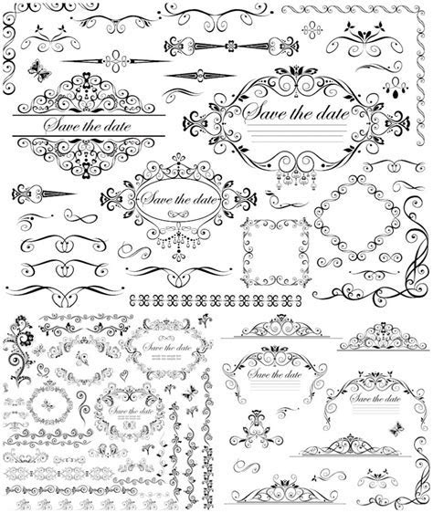 Wedding decorative frames and borders vector   Vector