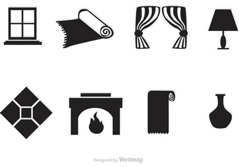 black home interior vector icons   vector