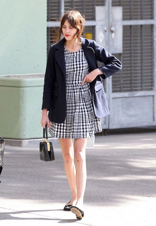 Le Fashion Blog Model Style Alexa Chung Black Blazer Gingham Dress Mini Bag Charlotte Olympia Kitty Flats Via Popsugar