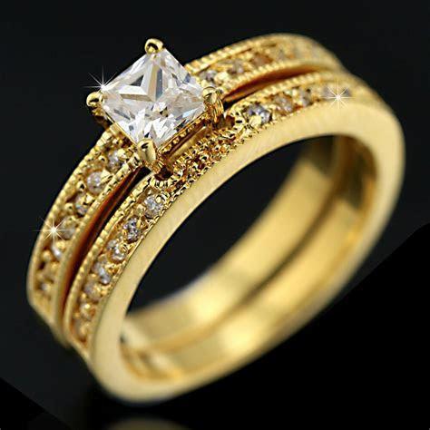 24K GOLD GF 2CT PRINCESS SQUARE SIMULATED DIAMOND