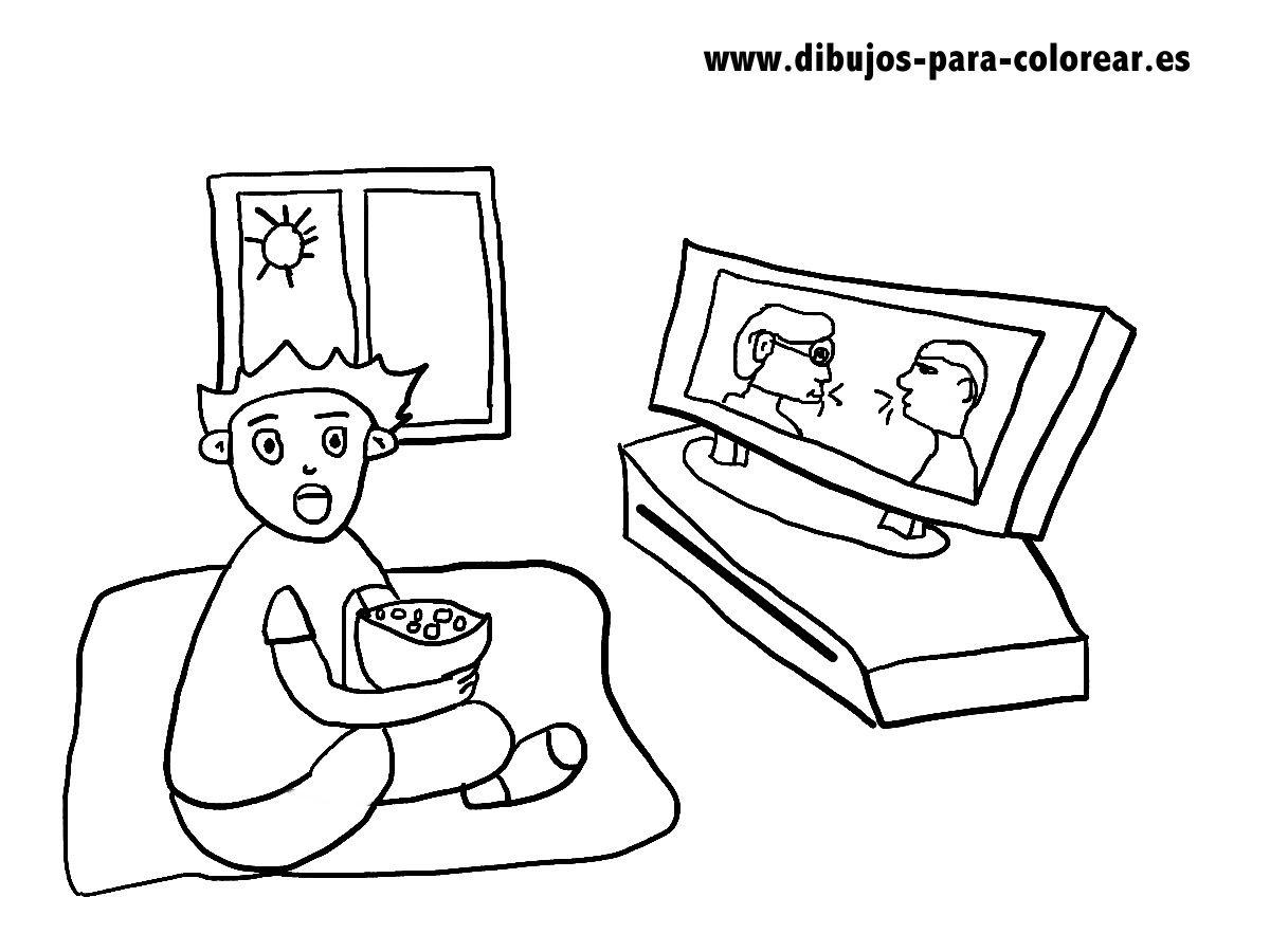 El Niño Y La Tele Dibujos Para Colorear