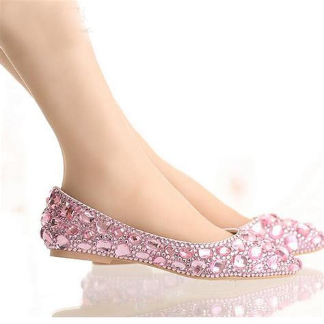 Popular Pink Flat Rhinestone Wedding Shoes Buy Cheap Pink