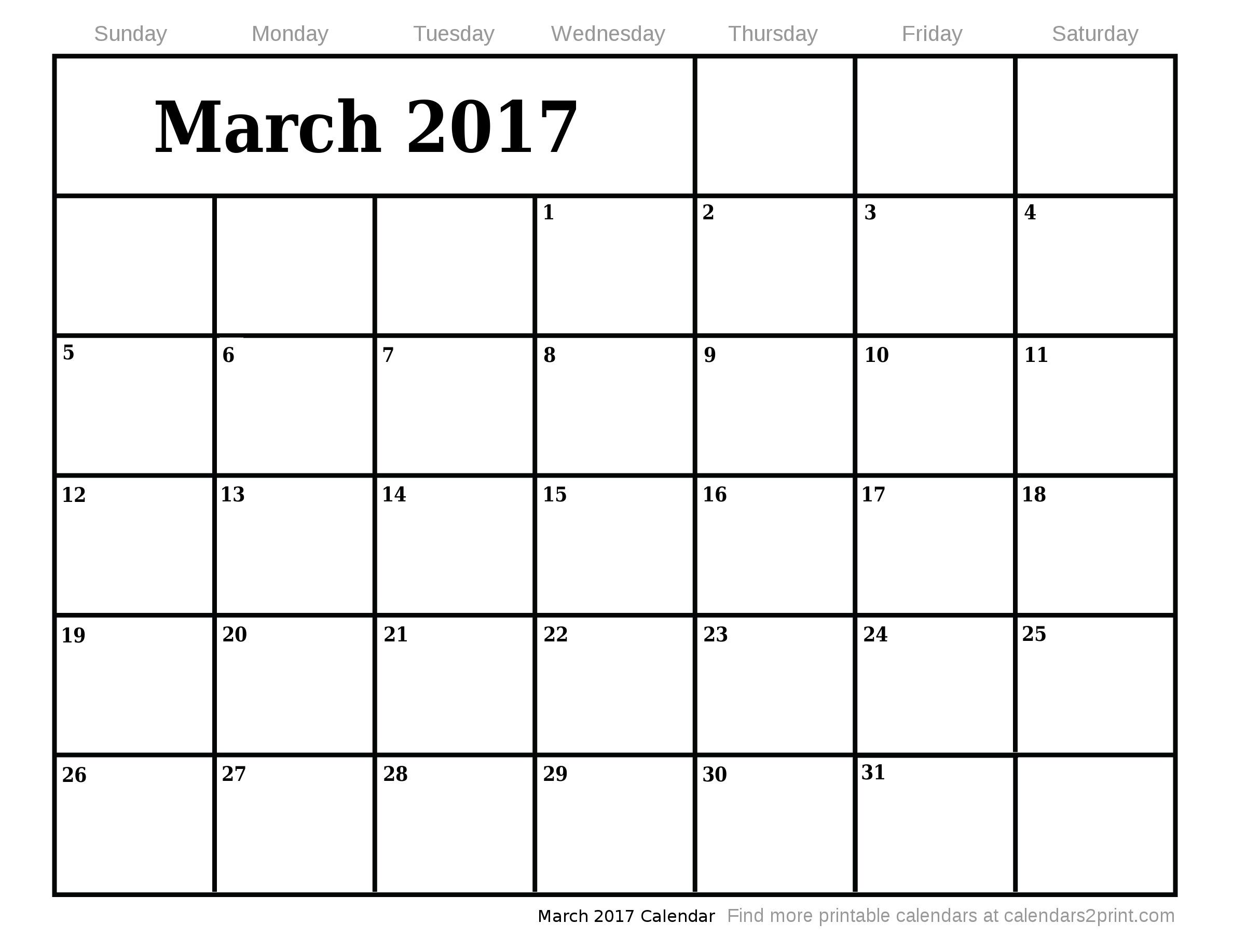 March Calendar 2017 Printable | 2017 calendars