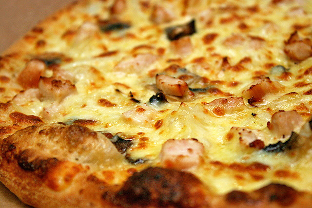 Classified Chicken - mozzarella cheese, smoked chicken breast, onion and mushroom