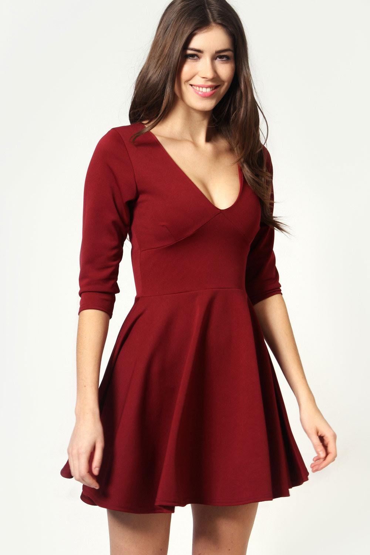 V neck long sleeve red dress online near