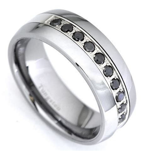 Black Diamond Tungsten Carbide Wedding Band Ring 0.35