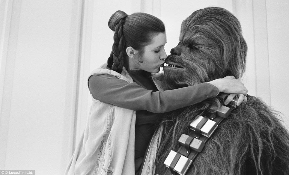 He's only a Wookie: Carrie Fisher and Peter Mayhew, who played the giant wookie character Chewbacca