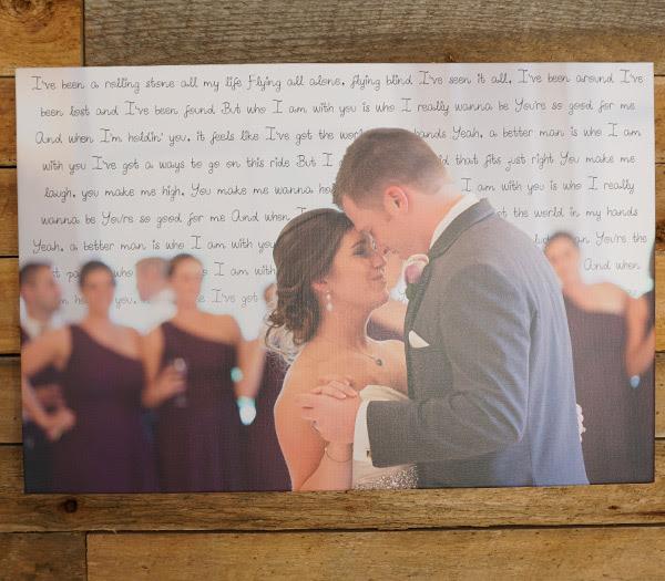 16x24 Wedding Song Lyric Canvas