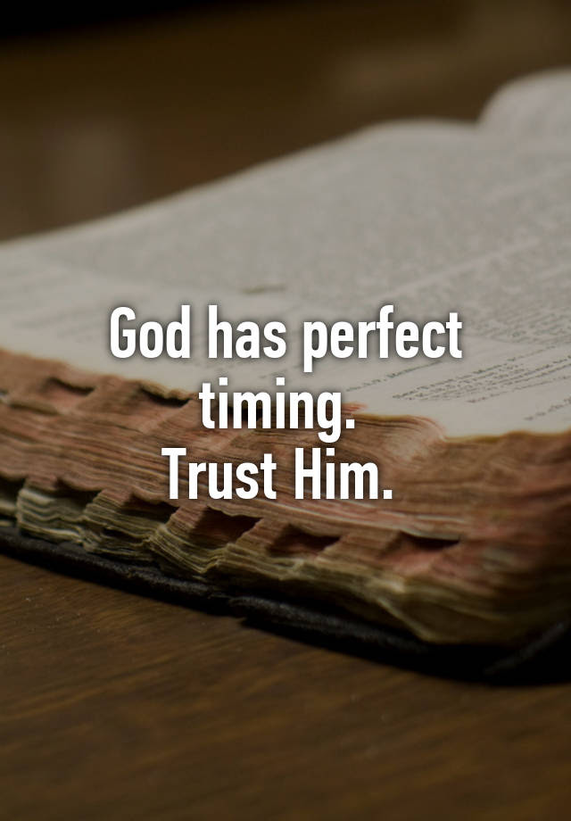 God Has Perfect Timing Trust Him