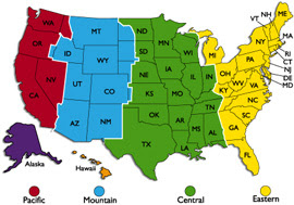 Us Map Divided Into Time Zones