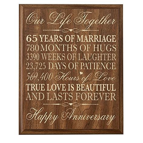 65th Wedding Anniversary Wall Plaque Gifts for Couple