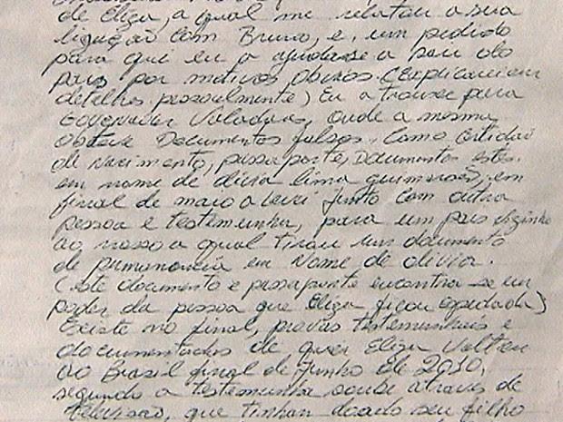 Trecho da carta que relata Eliza Samudio saiu do país com nome falso (Foto: Reprodução/TV Globo)