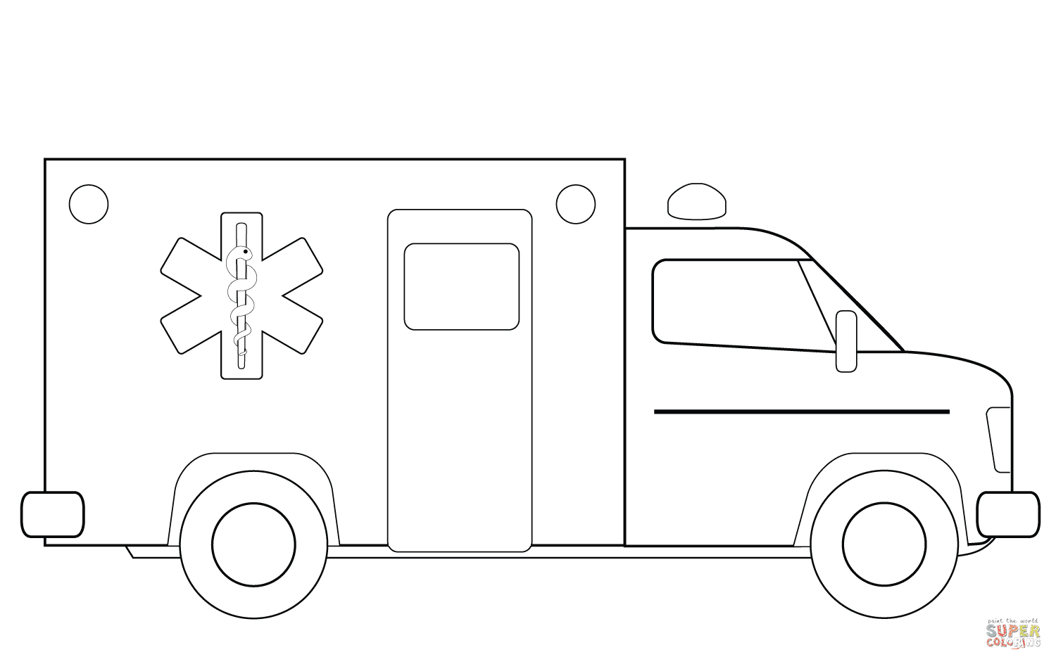 er sur la Camion ambulance coloriages