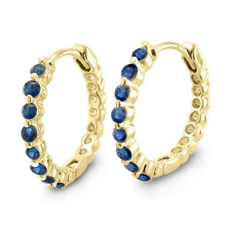 Natural Sapphire Earrings In 18k Yellow Gold Hoops