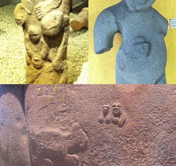 Top left: Totem statue from Gobekli Tepe. Top right: Statue at San Jose Museum, Costa Rica. Bottom: Culpa tower at Cutimbo, Peru.
