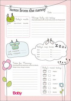 Nanny Report: Daily Information Sheet for Caregivers of Young ...