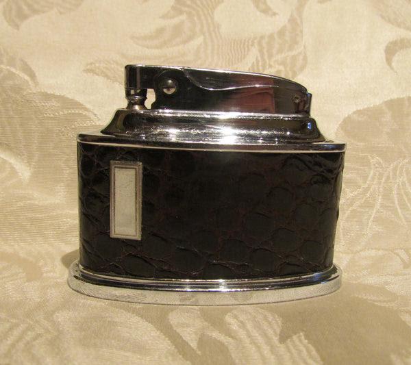 Ronson Senator Table Lighter 1950s Brown Leather Chrome ...