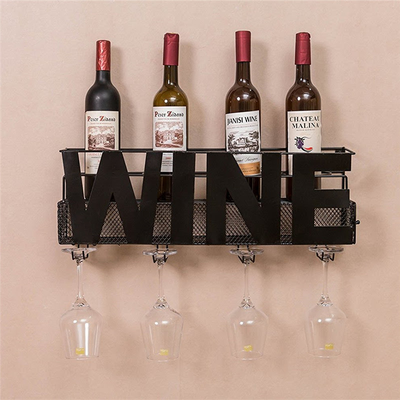 Metal Wine Rack Wall Mounted With 4 Long Stem Glass Holder Buy