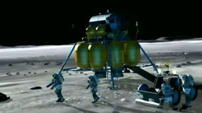 An artist's concept of ORION astronauts beginning their exploration of the lunar surface.