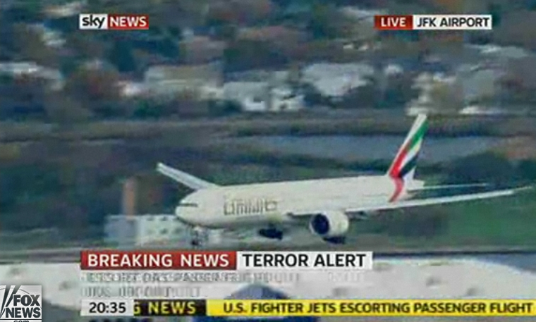 United Arab Emirates Flight 201 lands at JFK in New York after being escorted by two F-15s