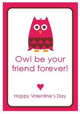 Owl Valentine's Day Cards  {Free Printable}