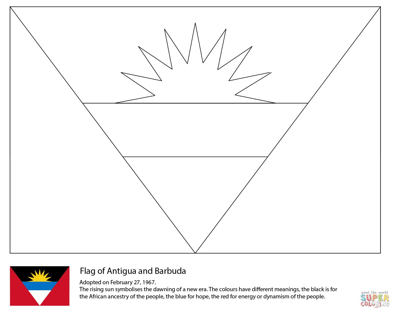 Flag of Antigua and Barbuda coloring page | Free Printable ...